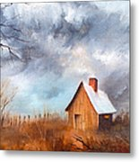 Cabin With Fence Metal Print