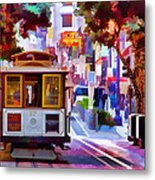 Cable Car At The Powell Street Turnaround Metal Print