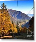 Cableway In Autumn Metal Print