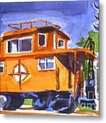 Caboose With Silver Signal Metal Print