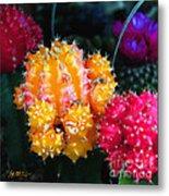 Cacti Watercolor Effect Metal Print