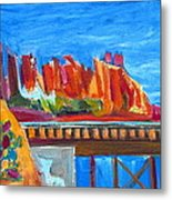 Cacti With Red Rocks And Rr Trestle Metal Print