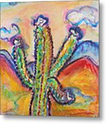 Cactus And Clouds Metal Print