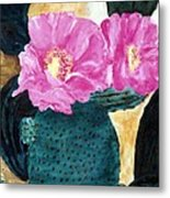 Cactus And The Pink Flower Metal Print