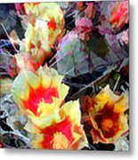 Cactus Flowers Bright And Prickly Metal Print