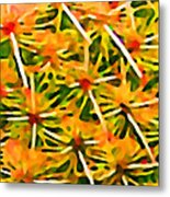 Cactus Pattern 2 Yellow Metal Print by Amy Vangsgard
