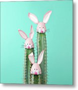 Cactus With Easter Rabbit Decorations Metal Print