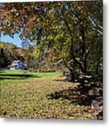 Cades Cove House And Fall Colors Metal Print