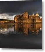 Caerphilly Castle Reflection Metal Print