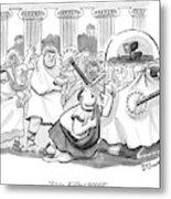 Caesar Is Murdered By Historical Mob Metal Print