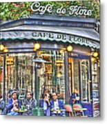Cafe Flore In Summer Metal Print by Matthew Bamberg