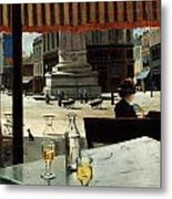 Cafe In A City Square Metal Print