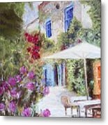 Cafe In The Spring Metal Print