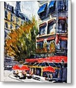 Cafe Le Champ De Mars Metal Print