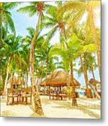 Cafe On Tropical Beach  Metal Print