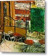 Cafe Terrace With Posters Metal Print by Pg Reproductions