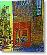 Cafe Window Corner Rue Fabre Near The Bicycle Stand Art Of Montreal Summer Street Scene  Metal Print