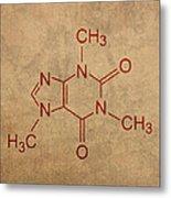 Caffeine Molecule Coffee Fanatic Humor Art Poster Metal Print