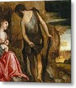 Cain As A Fugitive With His Family Metal Print