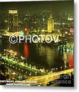 Cairo And The Nile River At Night - Egypt Metal Print