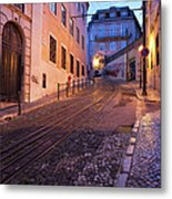 Calcada Da Gloria Street At Dusk In Lisbon Metal Print