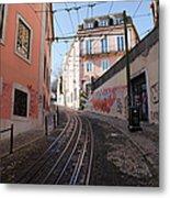 Calcada Da Gloria Street In Lisbon Metal Print