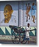 Calcutta - Rickshaw Passing Mahatma Gandhi Rd Metro-station Metal Print