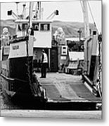 Caledonian Macbrayne Mv Canna Ferry With Vehicle Boarding Ramp Lowered Rathlin Island Pier Harbour N Metal Print