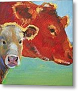 Calf And Cow Painting Metal Print