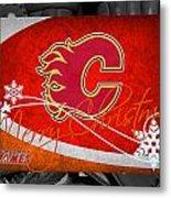 Calgary Flames Christmas Metal Print