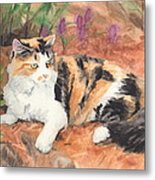 Calico Cat In Garden Watercolor Painting Metal Print