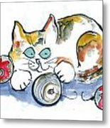 Calico Kitty With Three Ornaments Metal Print