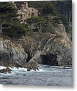 California Cliffside Ocean House Metal Print by Bruce Gourley