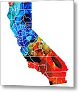 California - Map Counties By Sharon Cummings Metal Print
