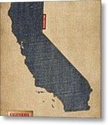 California Map Denim Jeans Style Metal Print by Michael Tompsett