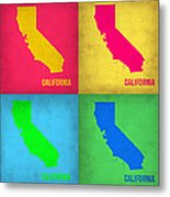 California Pop Art Map 1 Metal Print by Naxart Studio