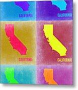 California Pop Art Map 2 Metal Print