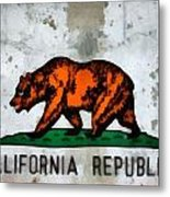 California State Flag Weathered And Worn Metal Print