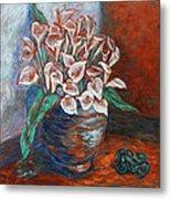 Calla Lilies And Frog Metal Print