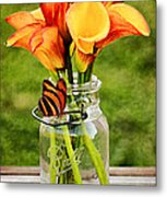Calla's And The Butterfly Metal Print