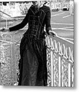 Calley In The Corner Black And White Metal Print