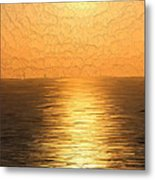 Calm Sunset At Sea Metal Print