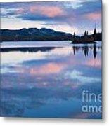 Calm Twin Lakes At Sunset Yukon Territory Canada Metal Print