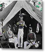 Calvary Troopers On Bivouac Tent Date Unknown Image Restored Color Added 2008  Metal Print