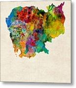 Cambodia Watercolor Map Metal Print