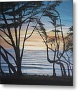 Cambria Cypress Trees At Sunset Metal Print