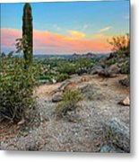 Camel Back Mountain Cactus View Metal Print by Jenny Ellen Photography