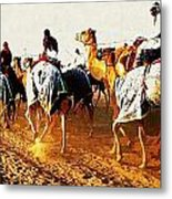 Camel Train Metal Print by Peter Waters