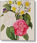 Camellias Narcissus And Pansies Metal Print