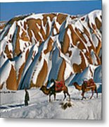 Camels On The Snow Metal Print